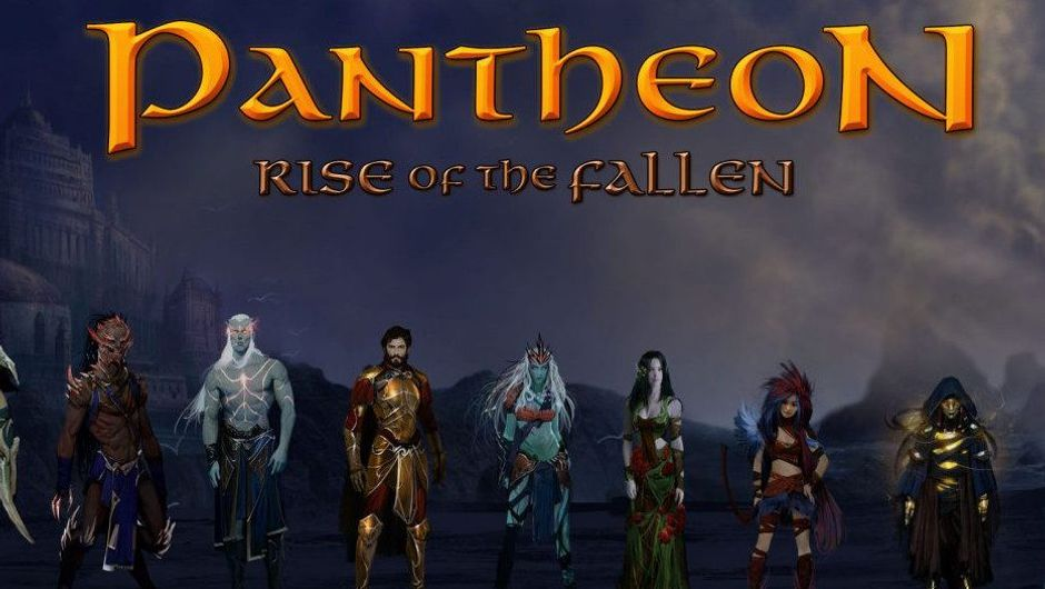 Pantheon: Rise of the Fallen members of different races standing in a cave.