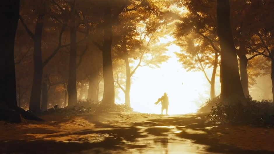 Ghost of Tsushima protagonist in a sunset
