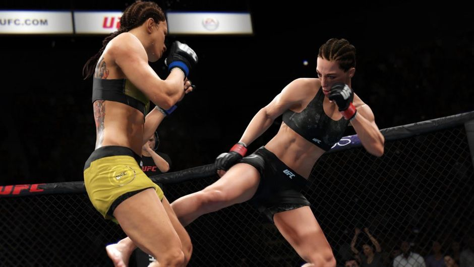 Two female fighters fighting in EA Sports' UFC 3