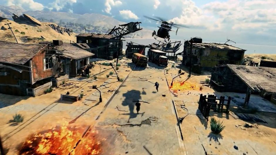 Picture of some aircraft, explosions and infantry in Call of Duty: Black Ops 4