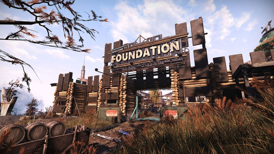 Fallout 76 screenshot showing foundation settlement