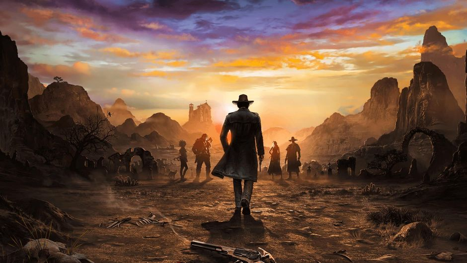 A cowboy walking towards a group of people in Desperados 3