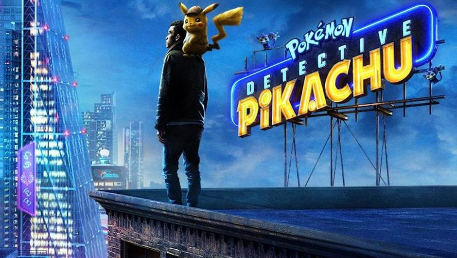 detective pikachu artwork showing a man on a building with pikachu on his shoulder