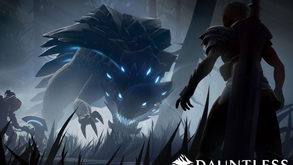 A behemoth from Dauntless in a forest chasing the player