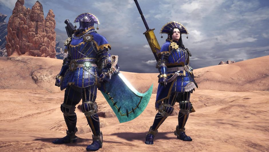 Two monster hunters in armour from Monster Hunter: World
