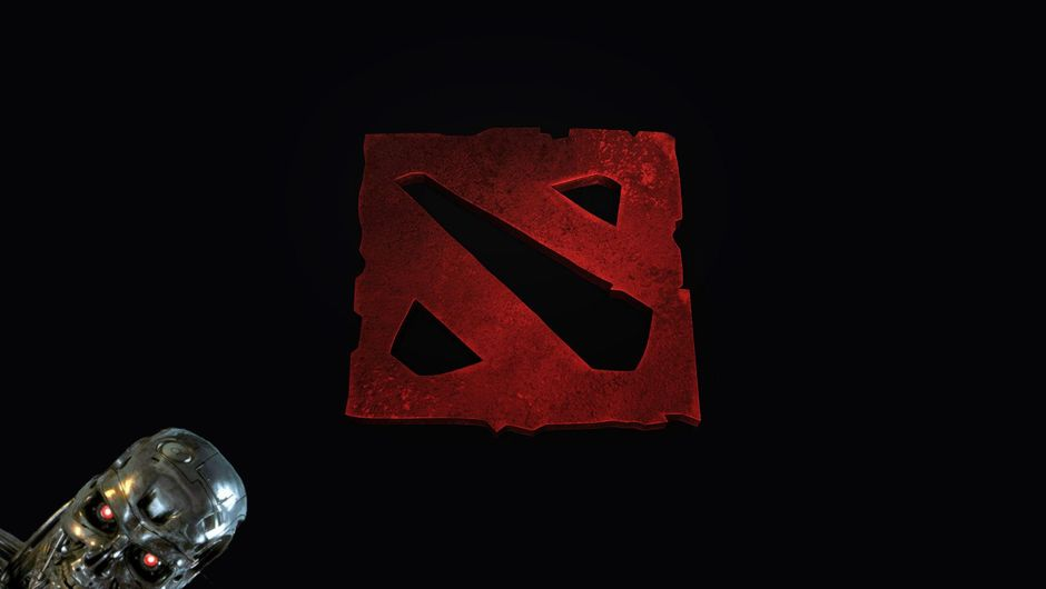 Spoof image of the Dota 2 logo with a Terminator on it