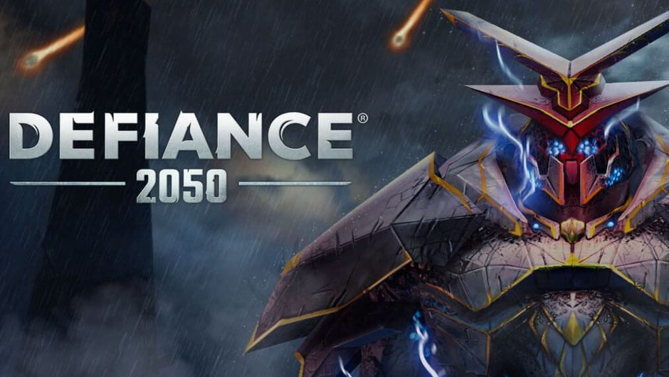 Poster for Defiance 2050 showing a heavily armoured volge trooper.