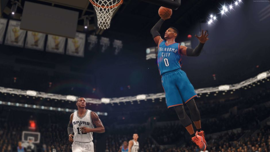 Westbrook dunking the ball against the Spurs.