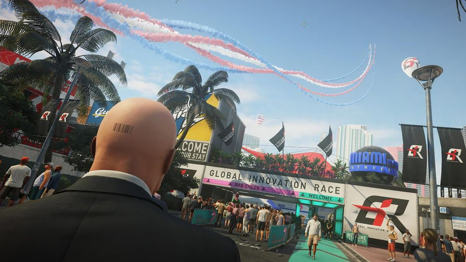 Hitman 2 protagonist with a bar code tattooed on his head