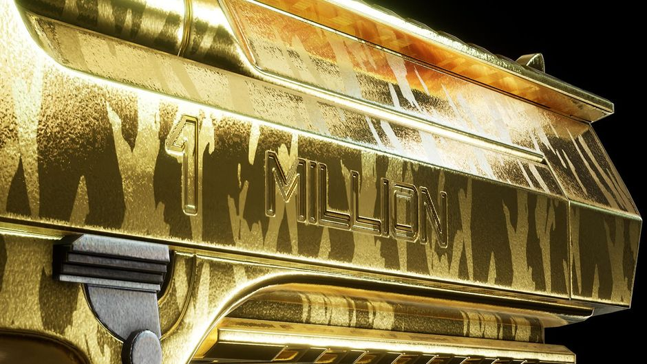 "A golden pistol with ""1 million"" etched on it"