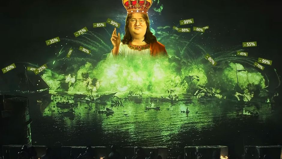 Spoof image of Gabe Newell in wildfire throwing discounts around