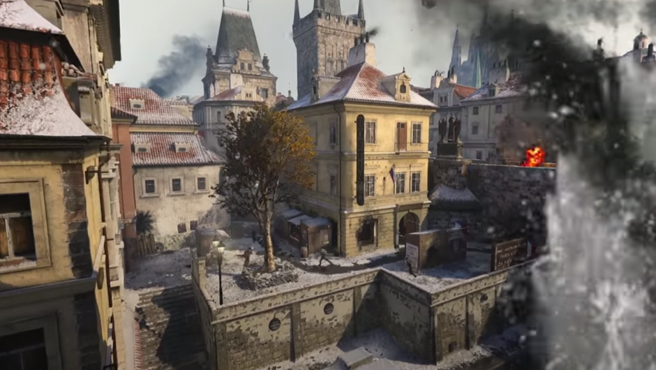 Aerial view of a war zone in Prague