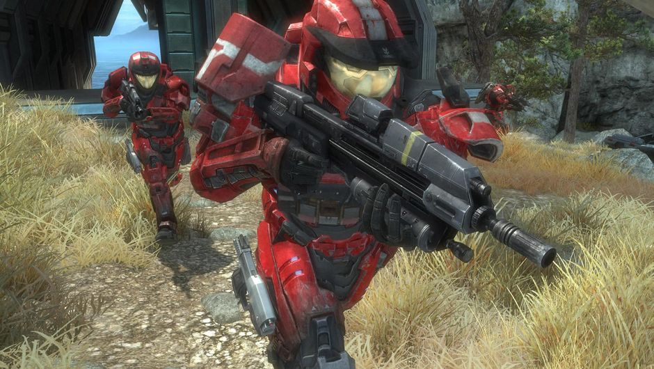 Several armoured men walking in Halo Reach