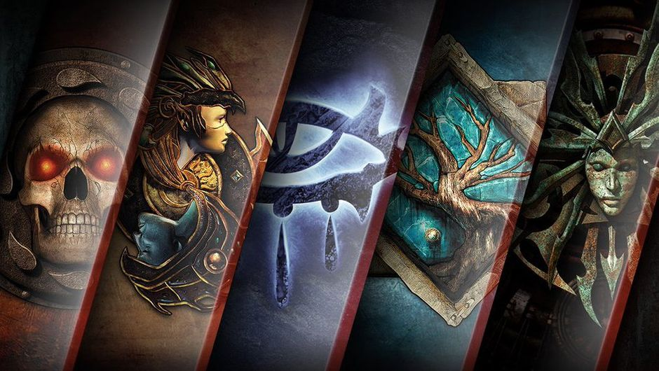 artwork showing logos of neverwinter nights, baldur's gate and planetscape torment