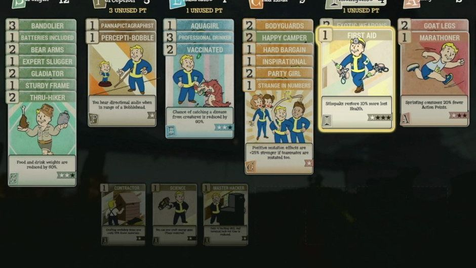 Picture of the perk cards and SPECIAL in Fallout 76