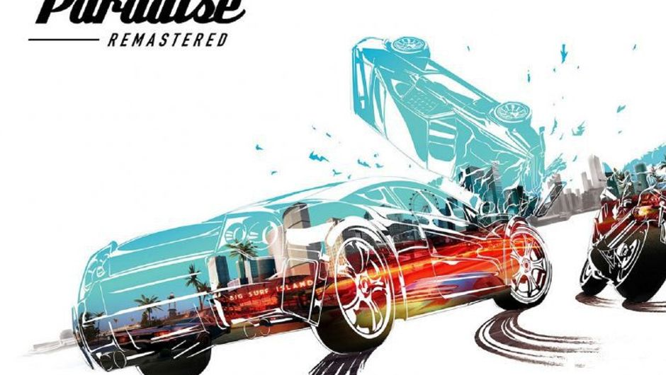 Concept art cars racing on promo image for Burnout Paradise Remastered.