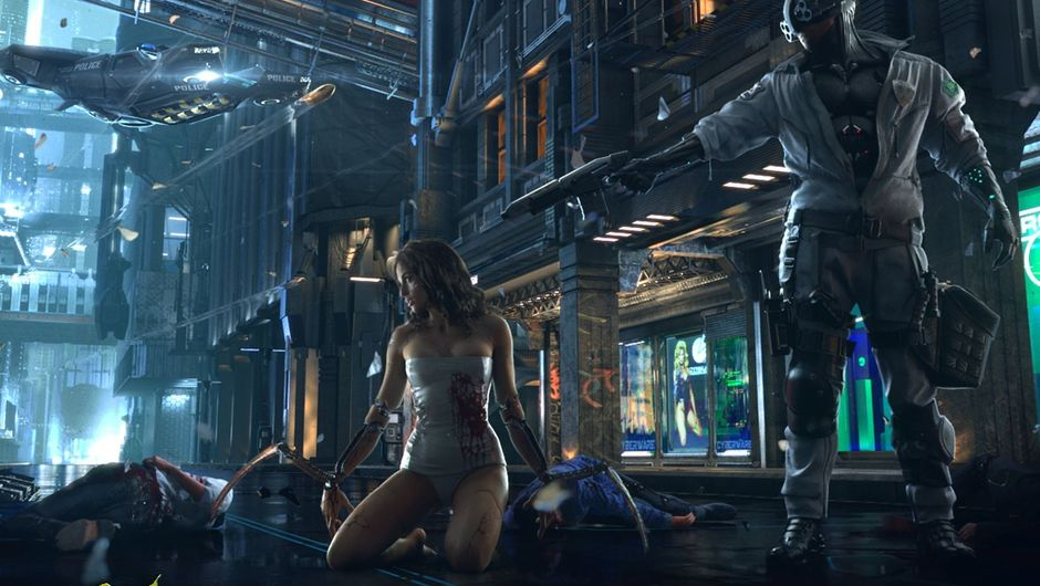 Police officer aiming at the back of a robot's head in Cyberpunk 2077