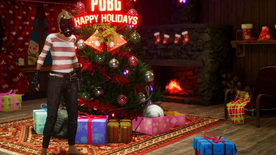pubg screenshot showing a christmas tree and gifts