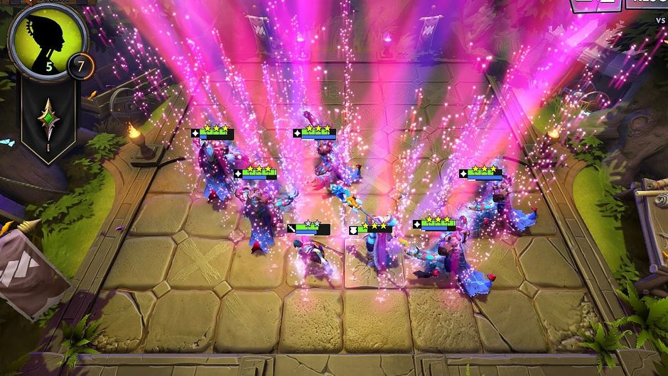 screenshot of dota underlords game board with arc wardens performing a victory dance