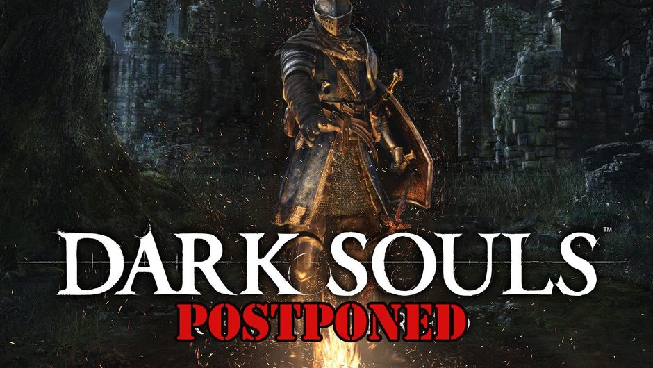 Dark Souls Remastered title screen is spoofed to show the game is postponed.
