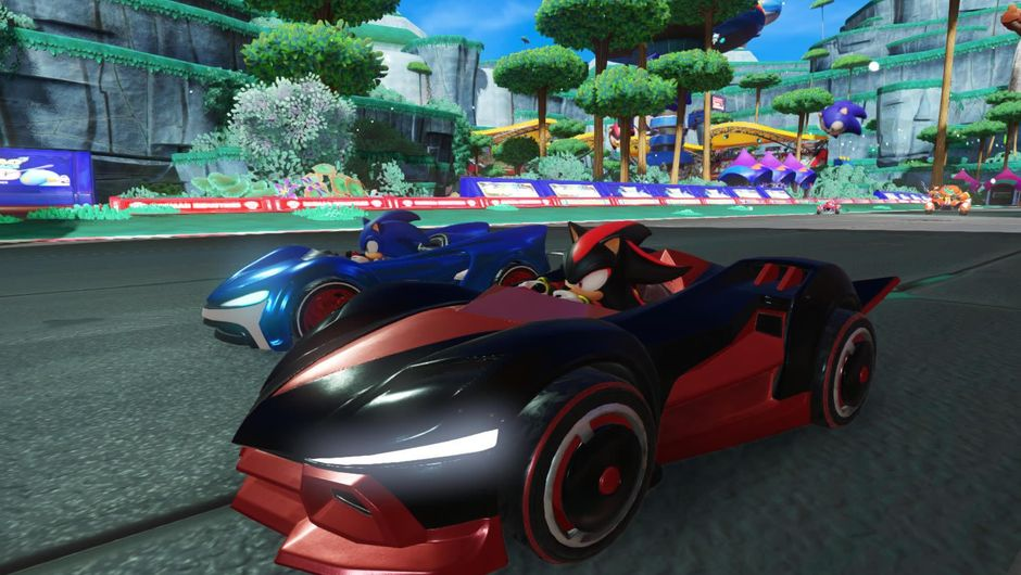 Screenshot from Team Sonic Racing showing Sonic in a vehicle