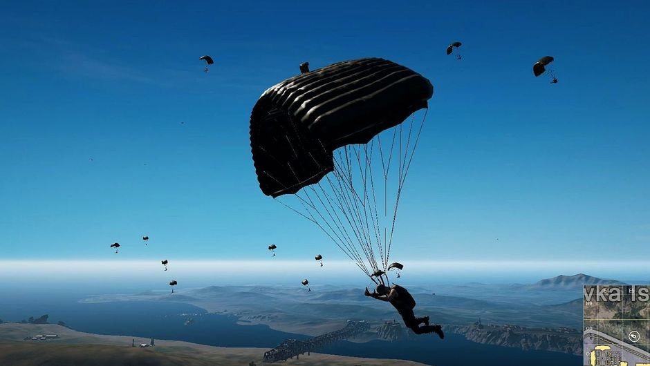 Players parachuting out of the plane at the start of a PUBG match.
