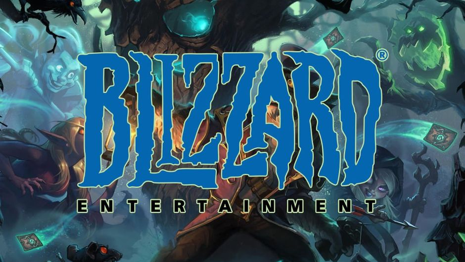 Blizzard's logo over Hearthstone's artwork for the Witchwood expansion