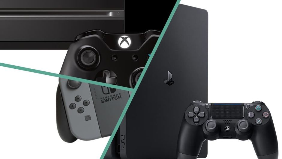 Collage of PlayStation 4, Xbox One and Nintendo Switch