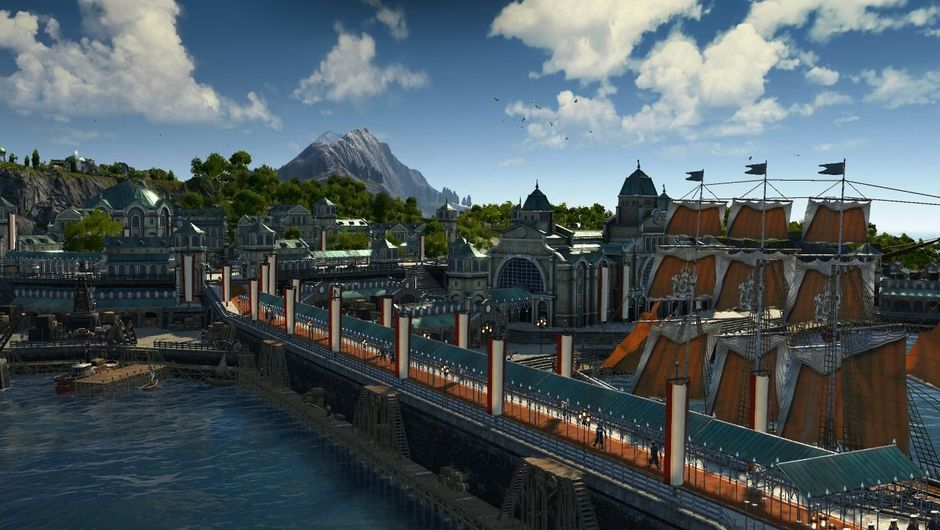 Anno 1800 screenshot of royal harbour with island in the background