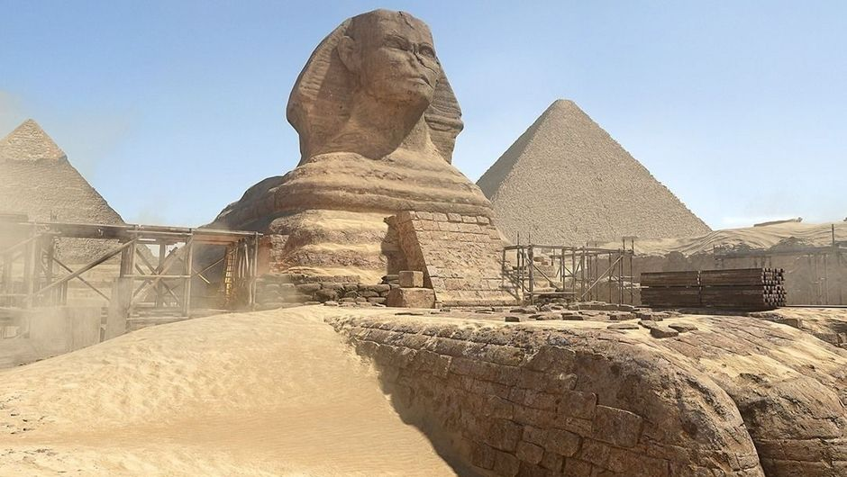 The Sphynx with the Great Pyramids in background