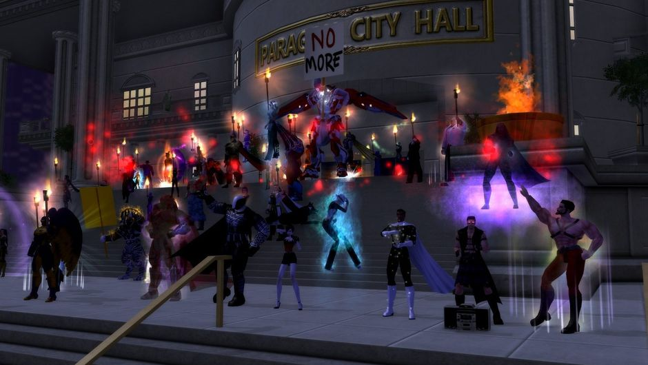 Picture of a pile of heroes protesting against City of Heroes server shutdown