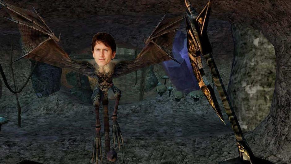 Bethesda's Todd Howard photoshopped onto a Morrowind harpy
