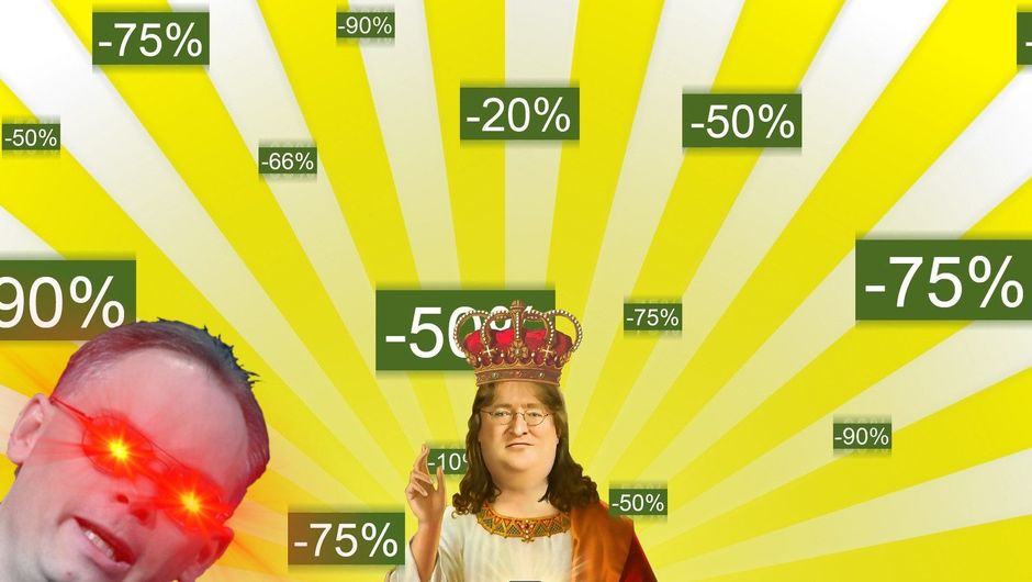 Spoof image of Gabe Newell and Tim Sweeney among a pile of sales