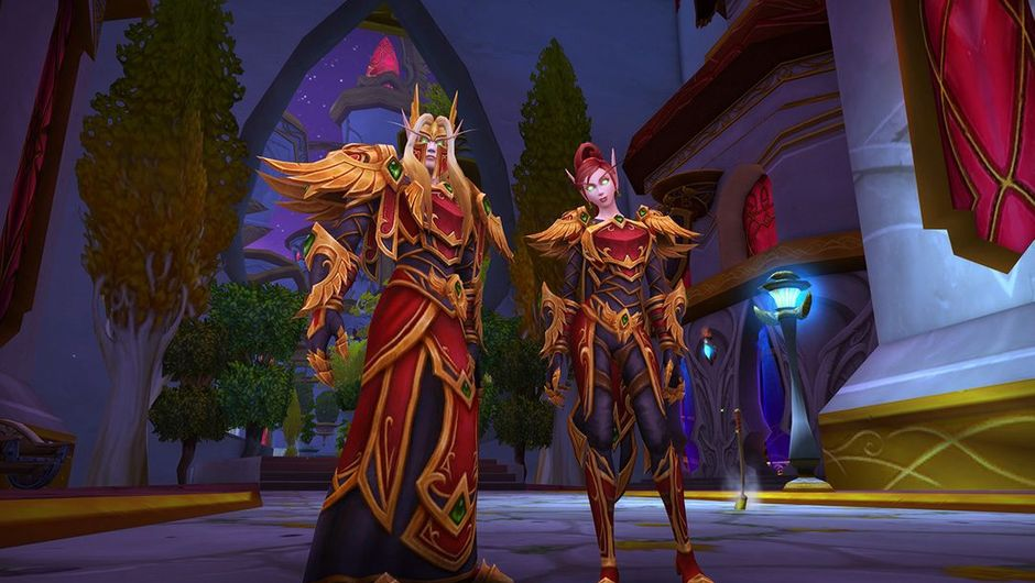 Picture of two Blood Elves in their Heritage armour in World of Warcraft