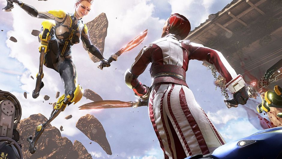 Two characters from the game LawBreakers fighting mid air