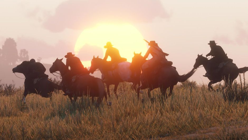 Five horsemen riding in Red Dead Online Beta