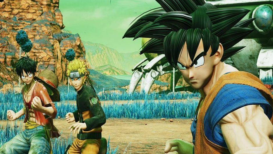 Goku, Naruto and Luffy preparing to go into battle on Namek.
