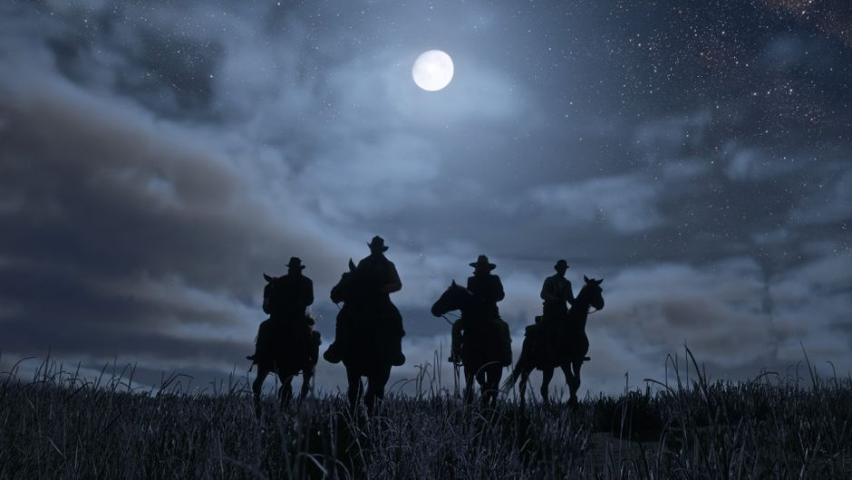 Four silhouettes of men riding horses can be seen in Red Dead Redemption 2