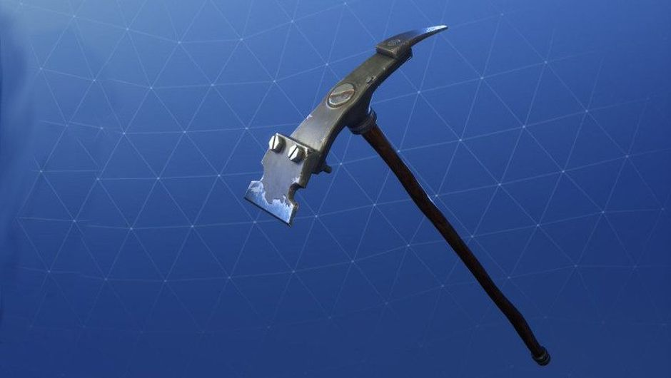 Fortnite pickaxe on a blue background.