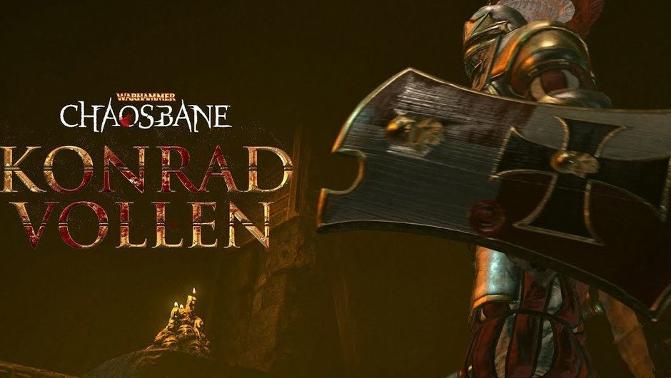 Picture of Konrad Vollen on a promotional image for Warhammer Chaosbane
