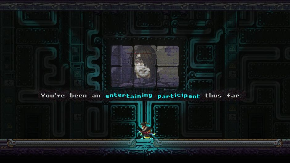 Screenshot of a huge display in Katana Zero