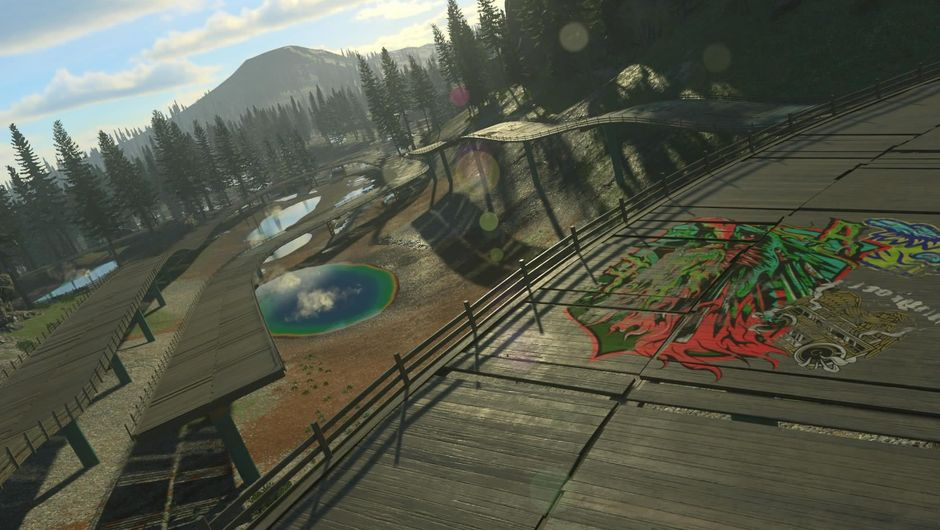 View of an open race track from Codemasters' game Onrush