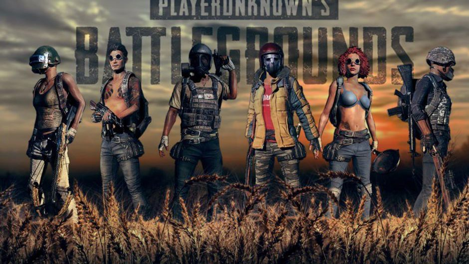 Promotional image for PlayerUnknown's Battlegrounds showing a bunch of players in different outfits.