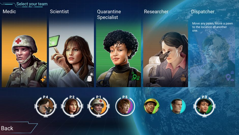 UI showing a selection of professions in Pandemic