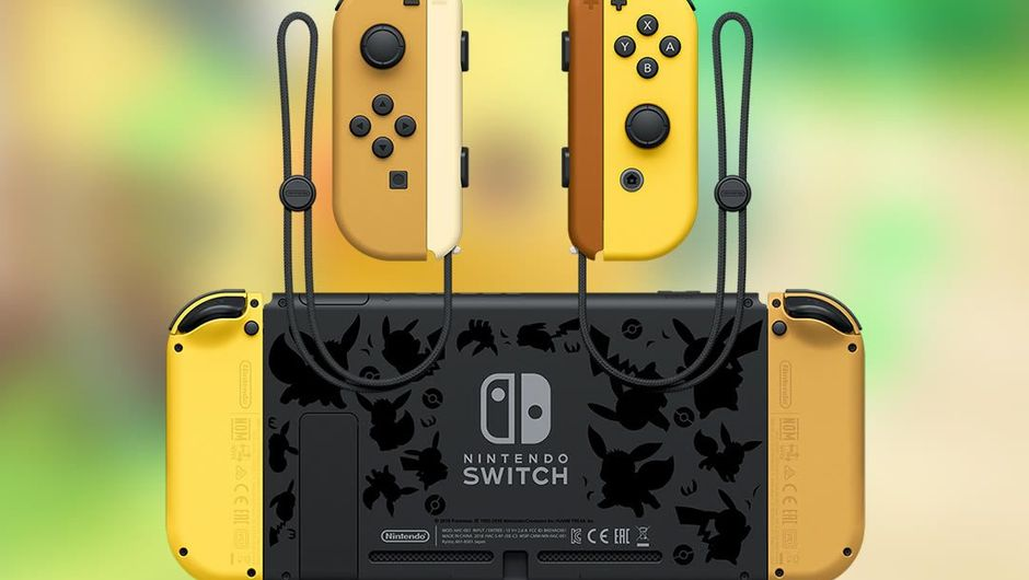 Joypads and back of Pokemon: Let's Go, Eevee! themed Switch