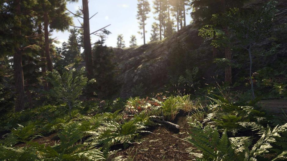 A man with an axe running through a forest in SCUM