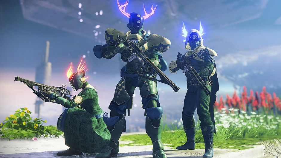 screenshot from destiny 2 showing three characters with glowing horns