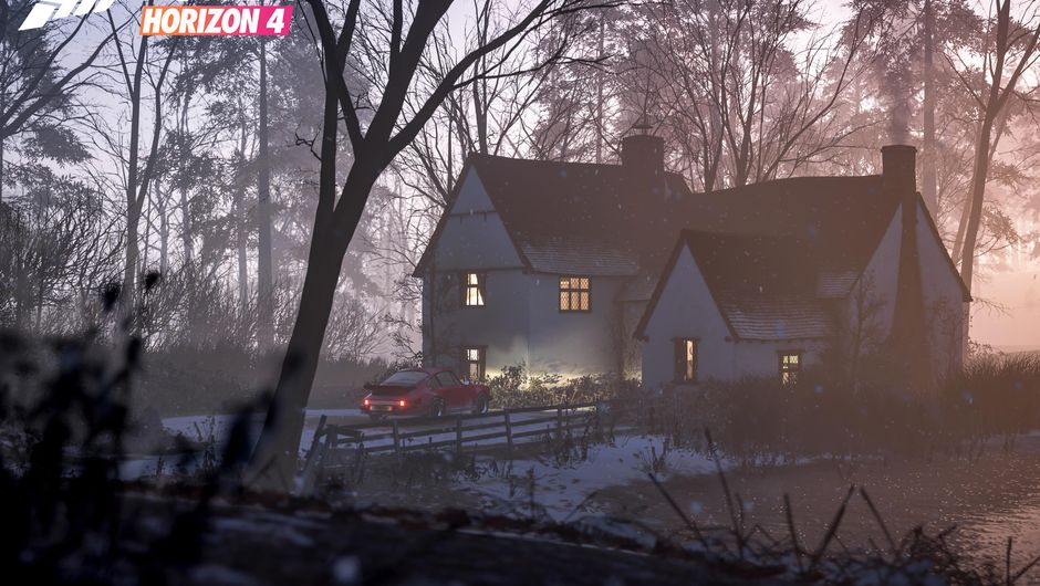 A racing car parked next to a house in Forza Horizon 4