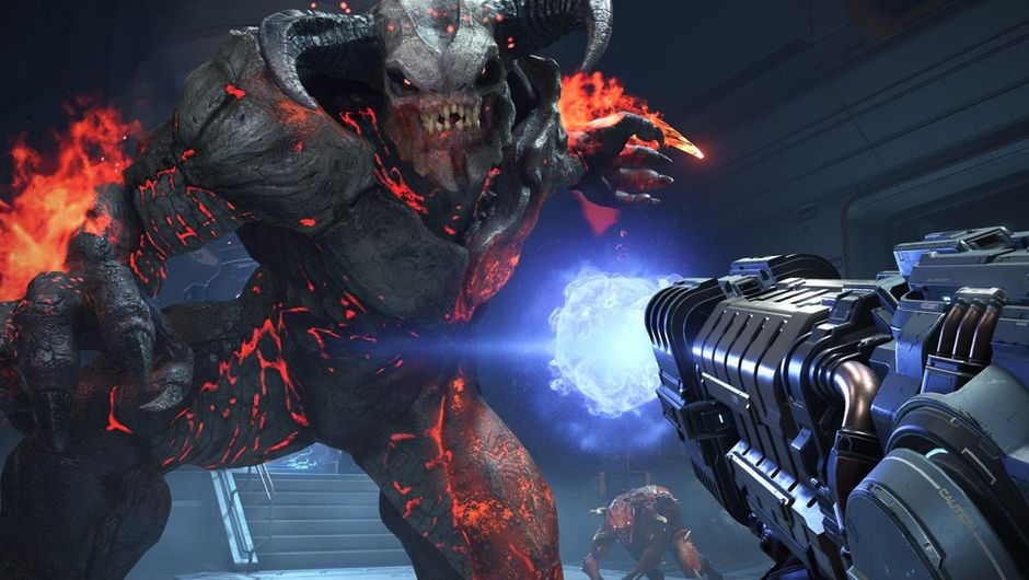 doom eternal screenshot showing a cyberdemon
