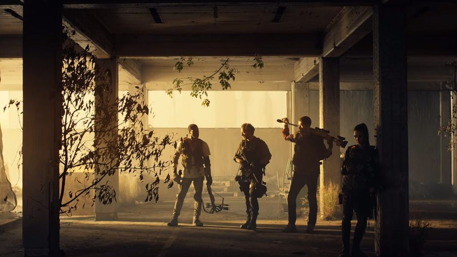 picture showing four characters with guns